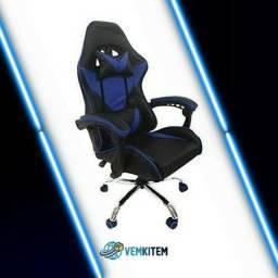 Cadeira Gamer Azul/Preto Reclinável