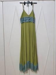 Vestido longo verde abacate Tam 42