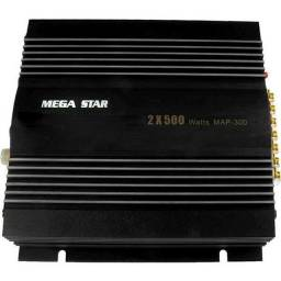 Modulo Amplificador Mega Star 2 Canais 2x500w Map-300 P/ Som Automotivo
