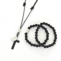 Kit Colar Masculino Ajustável com duas pulseiras. Alta Qualidade.