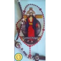 Terço Das Santas Chagas De Jesus + Adesivo