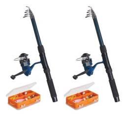 Kit Pesca Amador com Vara Molinete Isca e Acessórios Art Sport