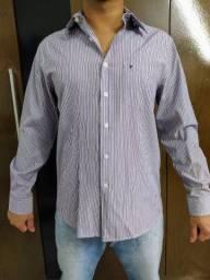 Blusa social listrada, branco com violeta - Tamanho 3/40