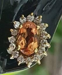 Brincos ouro kt.18 com diamantes e topázio imperial rosa extra