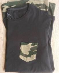 Camiseta Preto/Camuf Blue Steel Tam. M