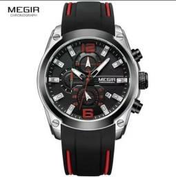 Relógio megir esportivo 100% original com cronógrafo todo funcional pulseira de silicone