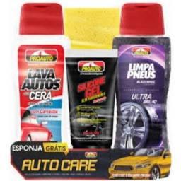 Kit limpeza Carros: Lava Auto com Cera + Silicone + Limpa Pneus + Esponja<br>