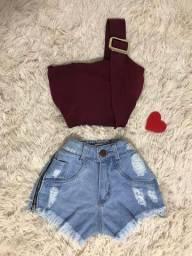 Short jeans, conjunto, vestido e macaquinho