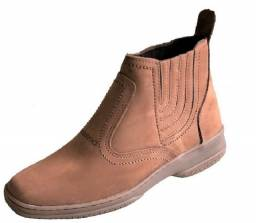Botina cano medio solado costurado bota couro legitimo