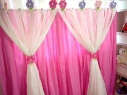 Cortina dupla Pink e Branco