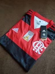 PROMOÇÃO - Camisa Flamengo 21/22 - Uniforme 1 - Patch Campeão Brasileiro 2020 - Masculina