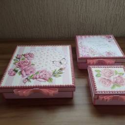 Kit caixas decoradas flores