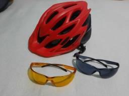 Acessórios Ciclismo Bicicleta - Quase nunca usados - Capacete Óculos Pedal Clip Led