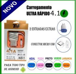 Carregador de celular TURBO ultra rápido 4.1 v8 barato entrada micro usb  portáti