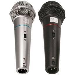 Microfone CSR-505 Duplo Com Fio 1 Preto E 1 Prata- NOVO