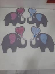 Kit 4 elefantinhos de mdf desapego