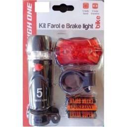Kit lanterna farol e campainha para bike bicicleta