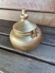 vaso de cerâmica, pintado em dourado!