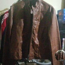Jaqueta de couro marrom m legitimo usado