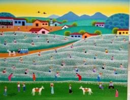 Robson barros artista naif tema colheita de algodão medida 50x40