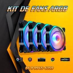 Kit com 4 Fans ARGB+Controladora+Controle+Bateria