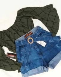 Blusa ciganinha viscolycra manga 3/4  tamanho M + short jeans Pakazzy tam 40