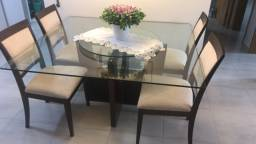 Conjunto Sala de Jantar Mesa Tampo de Vidro 4 Cadeiras