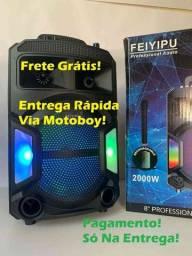 Caixa Rádio FM de 2000W + Bluetooth + Microfone + Controle! Frete Grátis!