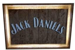 Quadro Placa moldura decorativa Jack Daniel,s com iluminação de fundo 67x47x8cm