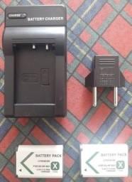 Carregador Portátil De Baterias Com Duas Baterias Câmera Sony dsc H300 e 400 Sem Uso