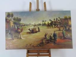 Quadro óleo sobre tela tema deserto