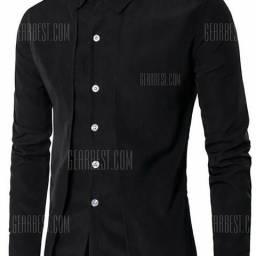 Camisa social manga longa slim fit duas camadas