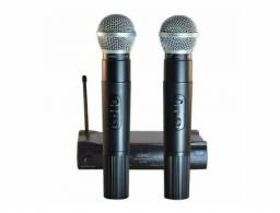 Microfone Sem Fio Wireless Duplo Kit com 02 Microfones
