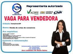 Vaga para vendedora - Campinas/SP
