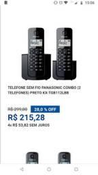Telefone fixo sem fio Panasonic.