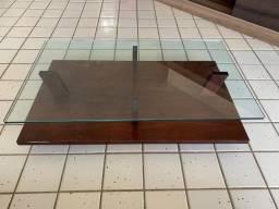Mesa de Centro de vidro com Base de Madeira