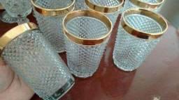 06 copos / Antiguidade / Bico de Jaca pesado / Borda dourada ouro