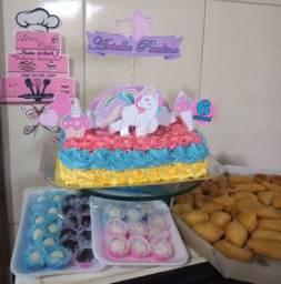Kits festa (bolo, doces e salgados) 70,00$