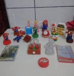 Kit 17 brinquedos Mário Bros joguinho bonecos Hóquei