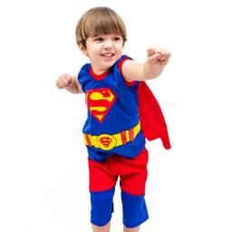 Fantasia Infantil Superhomem Menino Com Capa Pronta Entrega