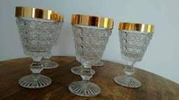 06 copos Antiguidade / Bico de Jaca pesado / Borda dourado ouro