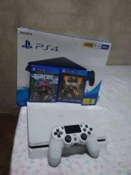 PS4 Slim Branco 500 GB 1 Controle 2 jogos