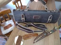 Estojo para facas em couro / maleta para facas em couro