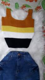 Cropped model Top de tricô Novo