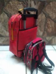 Kit mochila com carrinho + lancheira termica