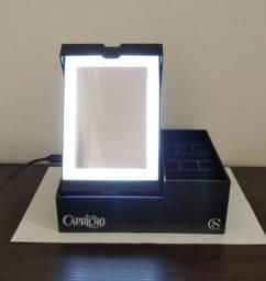Porta Maquiagem Espelho com LED