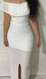 Vestido branco longo rendado