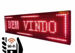 Painel Letreiro Digital Luminoso - Conexao USB + WiFi - Cores variadas - Mega Infotech