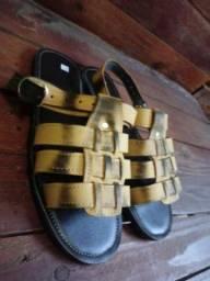 Sandálias de couro  e lona super confortáveis
