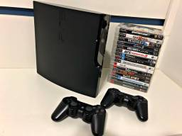 PS3 Slim 120 GB com 12 jogos MÍDIA FÍSICA